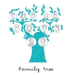 Family tree thin line style vector image