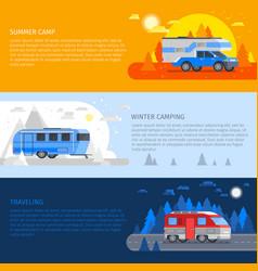 recreational vehicles banner set vector image