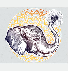 decorative profile elephant profile with heart vector image