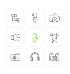 Audio line icons set sound mixer earbuds vector