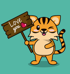 color background with cute kawaii animal stripe vector image