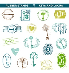 Set of rubber stamps - antique keys and locks vector