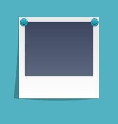Photo frame on wall with blue pins isolated on vector