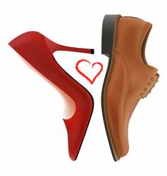 Love between shoes vector