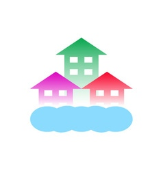 Homes with cloud-logo for construction vector