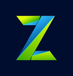 Z letter line colorful logo abstract trendy green vector
