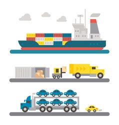 Logistic transportation machineries flat design vector