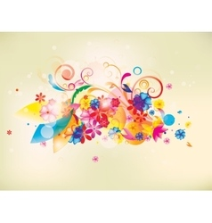 Colorful floral composition with flowers and vector