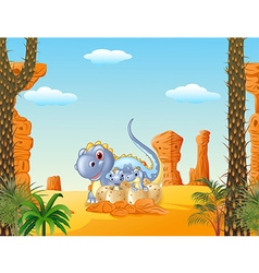 Cartoon mom dinosaur and baby dinosaurs hatching vector