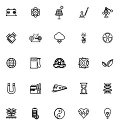 Renewable energy line icons on white background vector