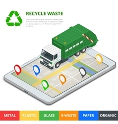 Recycle waste concept garbage disposal with gps vector