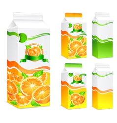 five packages orange juice vector image