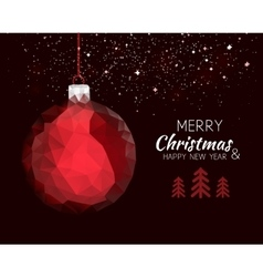 Merry christmas happy new year red ornament ball vector