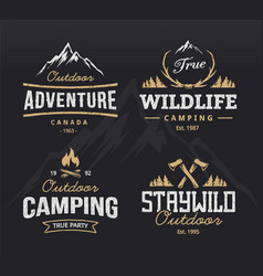 Outdoor retro emblems vector