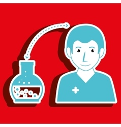 Nurse man and lab tube isolated icon design vector