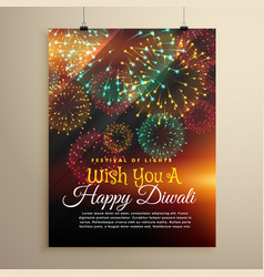 Amazing diwali festival fireworks display flyer vector