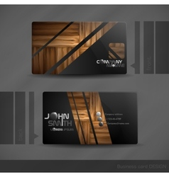 Business card design with wood texture vector