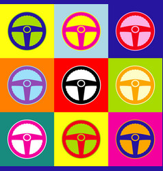 car driver sign pop-art style colorful vector image