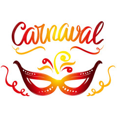 Carnival masquerade festive party calligraphic vector