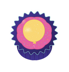 cupcake with yellow balloon vector image