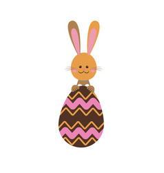 Cute easter bunny egg funny design vector
