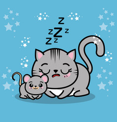 Cute sleepy kitten with a mouse vector