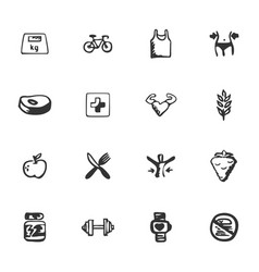 Doodle fitness icons set vector