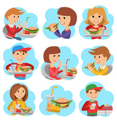 fast food restaurant people icones isolated on vector image vector image