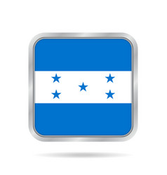 Flag of honduras metallic gray square button vector
