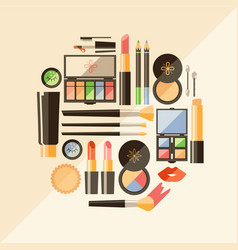 Flat cosmetics beauty fashion products dec vector