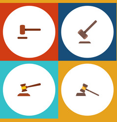 Flat icon hammer set of tribunal defense court vector