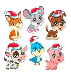 Funny christmas farm animals vector