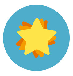 golden star icon on blue round background vector image