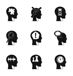 head silhouette with gear icons set simple style vector image