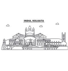 India kolkata architecture line skyline vector