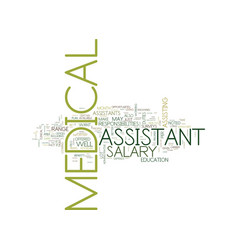 Medical assistant salary text background word vector