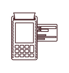 Monochrome silhouette of payment terminal with vector