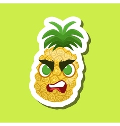 Pineappleangry cute emoji sticker on green vector