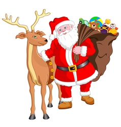 Santa and Reindeer with Gift vector image vector image
