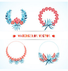 Set of wedding tropical wreaths vector