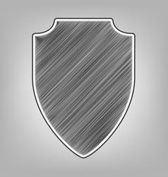 Shield sign pencil sketch vector