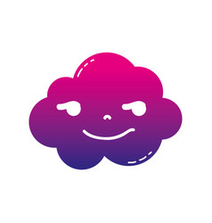 Silhouette rogue and cute cloud kawaii weather vector