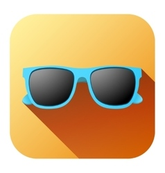 Square summer icon with sunglasses vector