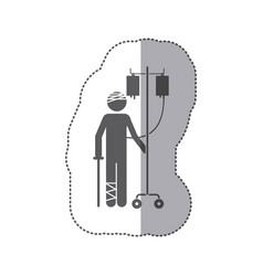 sticker monochrome pictogram bandaged person vector image