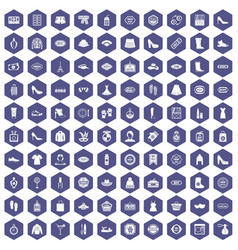 100 woman shopping icons hexagon purple vector