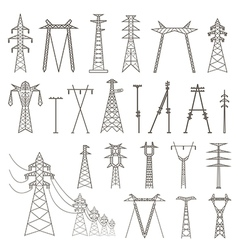 High voltage electric line pylon Icon set suitable vector image