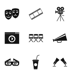 Movie icons set simple style vector