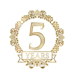 Five years anniversary celebration golden vintage vector