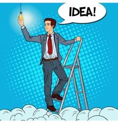 Pop Art Businessman with Ladder and Lightbulb vector image