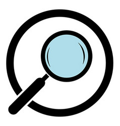 Magnifying glass icon magnifier in a circle vector